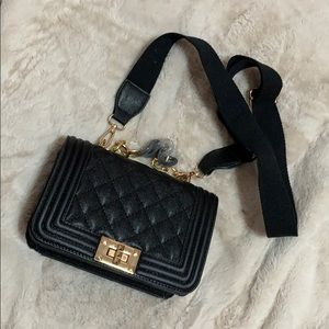 Structured faux leather quilted crossbody